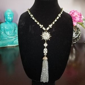 Baublebar long crystal chain necklace